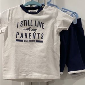 BIKKEMBERGS set shorts and tee 12 months